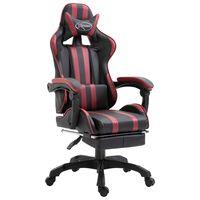 vidaXL Cadeira de gaming c/ apoio pés couro artificial vermelho tinto