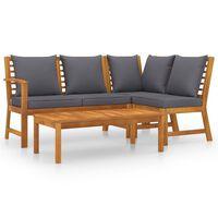 vidaXL 4 pcs conjunto lounge de jardim c/ almofadões acácia maciça