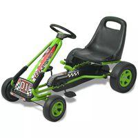 vidaXL Kart de pedais com assento ajustável verde