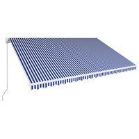 vidaXL Toldo retrátil manual 500x300 cm azul e branco