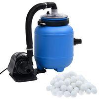 vidaXL Bomba de filtro para piscina 4 m³/h preto e azul