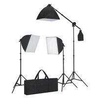 vidaXL Conjunto iluminação com 3 lâmpadas fotografia + tripé e softbox