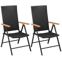 vidaXL Cadeiras de jardim empilháveis 2 pcs vime PE preto
