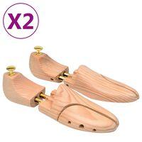 vidaXL Alargador de calçado 2 pares tam. 44-45 madeira de pinho maciça