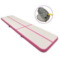 vidaXL Colchão de ginástica insuflável c/ bomba 700x100x20 cm PVC rosa
