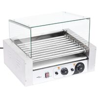vidaXL Máquina de cachorros-quentes 9 rolos c/ tampa de vidro 1800 W