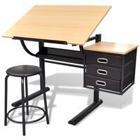 Mesa de desenho inclinável com banco