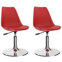vidaXL Cadeiras de jantar giratórias 2 pcs couro artificial vermelho