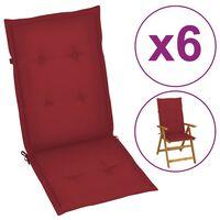 vidaXL Almofadões p/ cadeiras jardim 6 pcs 120x50x4 cm vermelho tinto