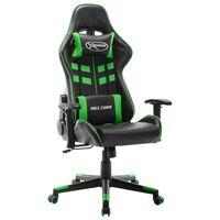 vidaXL Cadeira de gaming couro artificial preto e verde