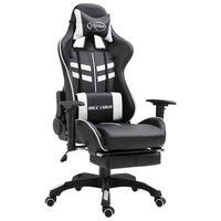 vidaXL Cadeira de gaming c/ apoio pés couro artificial branco