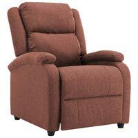 vidaXL Cadeira de TV reclinável tecido castanho
