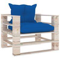 vidaXL Sofá de paletes p/ jardim com almofadões azul real pinho