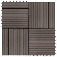 vidaXL Ladrilhos de pavimento 22 pcs WPC 2m² 30x30 cm castanho-escuro