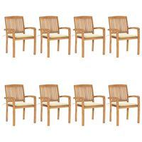 vidaXL Cadeiras de jardim empiháveis c/ almofadões 8 pcs teca maciça