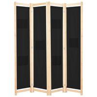 vidaXL Divisória de quarto com 4 painéis 160x170x4 cm tecido preto