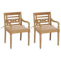 vidaXL Cadeiras Batávia c/ almofadões bege 2 pcs teca maciça