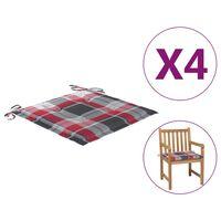 vidaXL Almofadões cadeira jardim 4pcs 50x50x4cm tecido xadrez vermelho