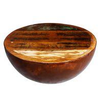 vidaXL Mesa centro c/ forma de tigela e base de aço, madeira reciclada