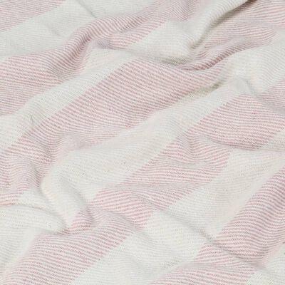 vidaXL Manta em algodão 160x210 cm riscas rosa velho