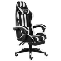 vidaXL Cadeira estilo corrida c/ apoio pés couro artif. preto/branco