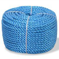 vidaXL Corda torcida em polipropileno 12 mm 250 m azul