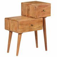 vidaXL Mesa-de.cabeceira em madeira de acácia maciça 60x36x75 cm