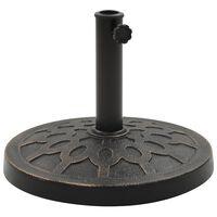 vidaXL Base de guarda-sol redonda poliresina 13 kg bronze