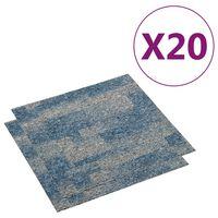 vidaXL Ladrilhos de carpete para pisos 20 pcs 5 m² azul-claro