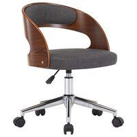 vidaXL Cadeira de jantar giratória madeira curvada e tecido cinzento