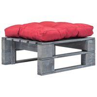 vidaXL Otomano de paletes com almofadão vermelho madeira cinzento