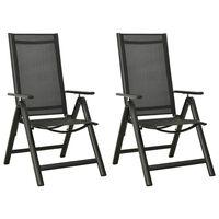 vidaXL Cadeiras de jardim dobráveis 2 pcs textilene e alumínio preto