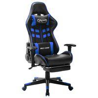 vidaXL Cadeira de gaming c/ apoio de pés couro artificial preto e azul