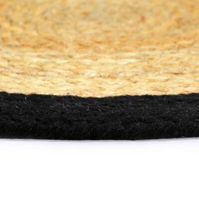 vidaXL Individuais de mesa 4 pcs juta e algodão 38 cm natural e preto
