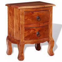 vidaXL Mesa de cabeceira com gavetas madeira de acácia maciça