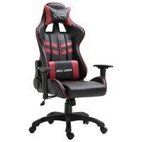 vidaXL Cadeira de gaming couro artificial vermelho tinto