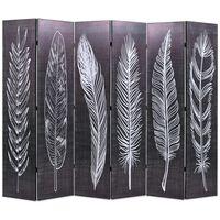 vidaXL Biombo dobrável com estampa de penas 228x170 cm preto e branco