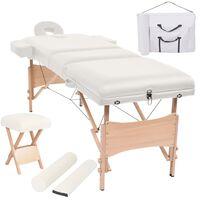 vidaXL Conj. mesa massagem dobrável 3 zonas + banco 10cm espes. branco