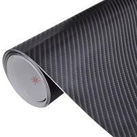 Película de carro, fibra de carbono 4D, em preto 152 x 500 cm