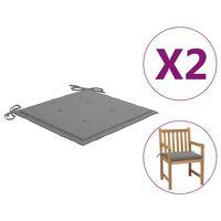 vidaXL Almofadões para cadeiras de jardim 2 pcs 50x50x3 cm cinzento