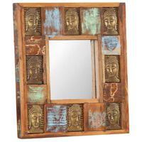 vidaXL Espelho com budas 50x50 cm madeira recuperada maciça