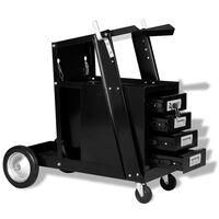 vidaXL Carrinho de soldagem com 4 gavetas preto