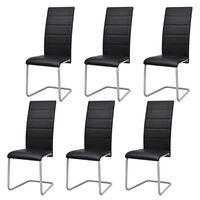 vidaXL Cadeiras de jantar cantilever 6 pcs couro artificial preto