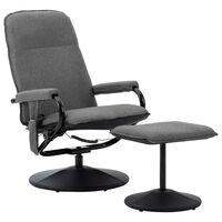 vidaXL Poltrona massagens reclinável + apoio pés tecido cinza-claro