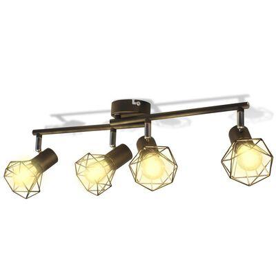 Apliques de arame estilo industrial com 4 LED, preto