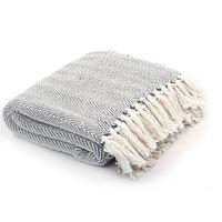 vidaXL Manta em algodão 220x250 cm padrão espinha cinzento