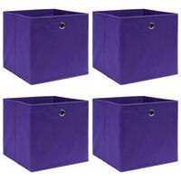 vidaXL Caixas de arrumação 4 pcs 32x32x32 cm tecido roxo