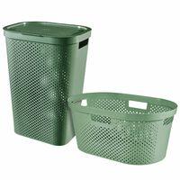 Curver Cestos roupa suja e lavandaria 2 pcs Infinity 40L+60L verde
