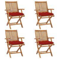 vidaXL Cadeiras de jardim dobráveis c/ almofadões 4 pcs teca maciça
