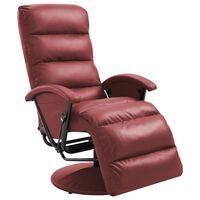 vidaXL Poltrona de TV reclinável em couro artificial vermelho tinto